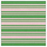 [ Thumbnail: Pink and Forest Green Colored Stripes Fabric ]