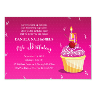 Pink and Girly 4th Birthday Cupcake Party Card