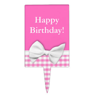 Pink and girly gingham with ribbon bow cake topper