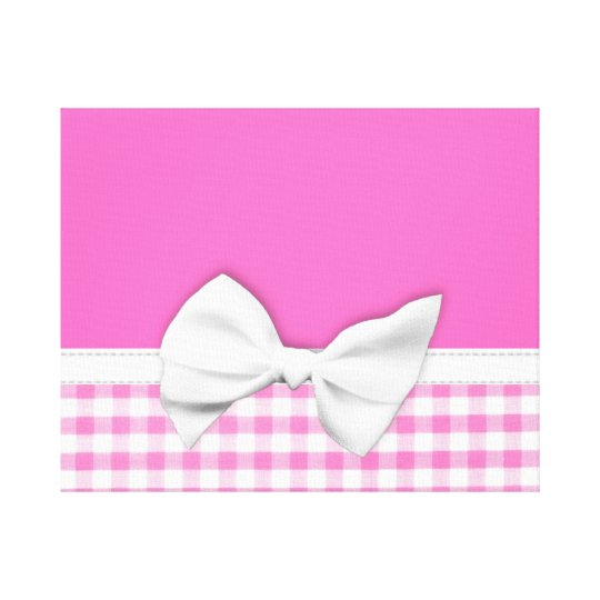 Pink and girly gingham with ribbon bow canvas print