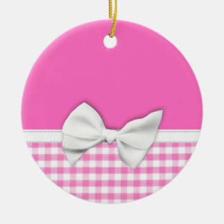 Pink and girly gingham with ribbon bow ceramic ornament