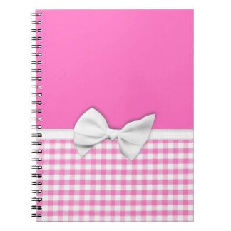 Pink and girly gingham with ribbon bow notebooks