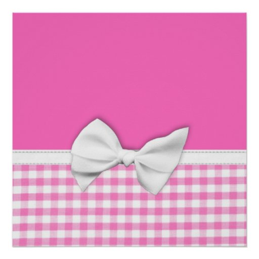 Pink and girly gingham with ribbon bow posters