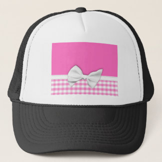 Pink and girly gingham with ribbon bow trucker hat