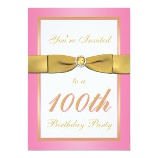 "Pink and Gold 100th Birthday Invitation 5"" X 7"" Invitation Card"