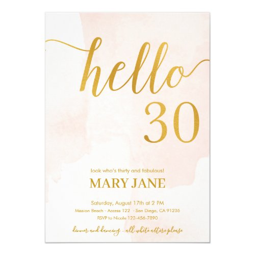 Pink and gold 30th birthday Invitation