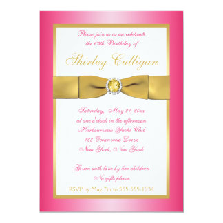 Pink and Gold 65th Birthday Invitation