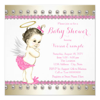 Pink and Gold Angel Baby Shower Card