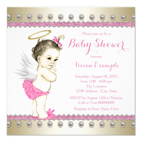 Pink And Gold Angel Baby Shower Invitation