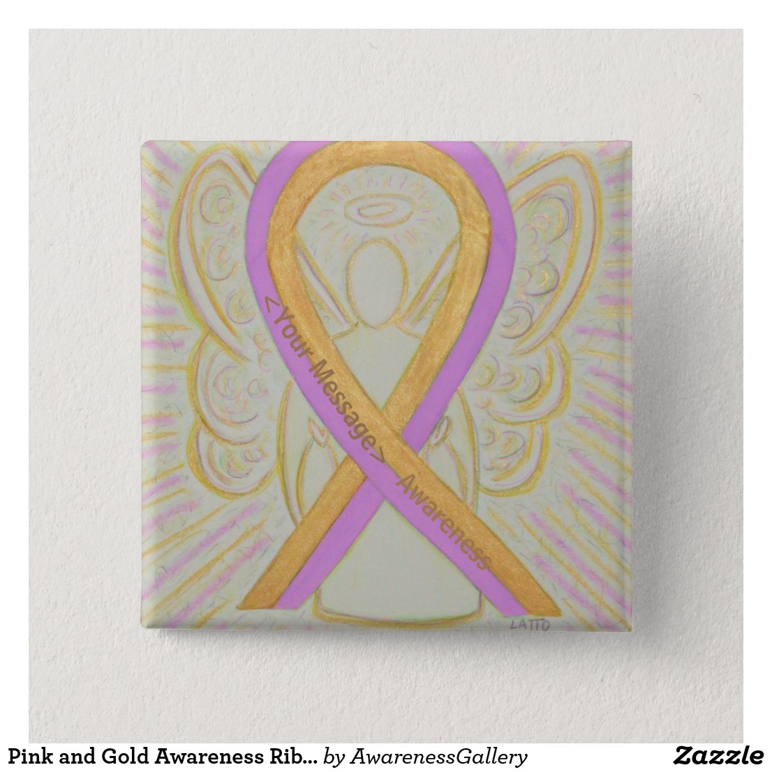 Pink and Gold Awareness Ribbon Angel Button Pins