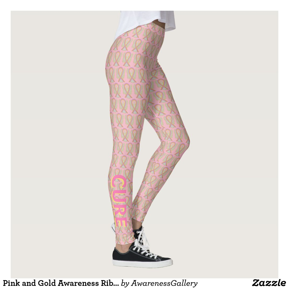 Pink and Gold Awareness Ribbon Angel Leggings