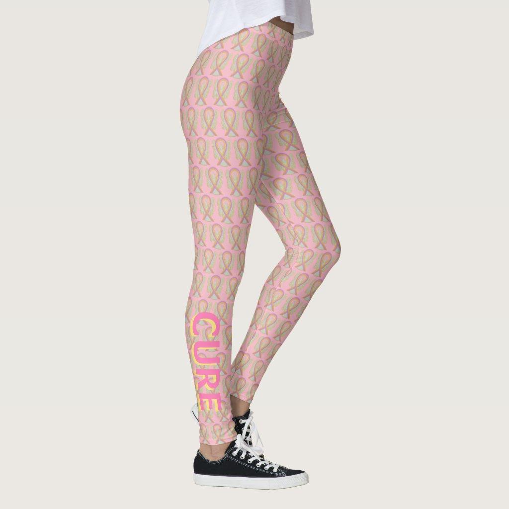 Pink and Gold Awareness Ribbon Angel Leggings