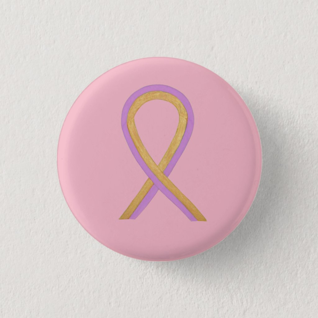 Pink and Gold Awareness Ribbon Custom Button Pins