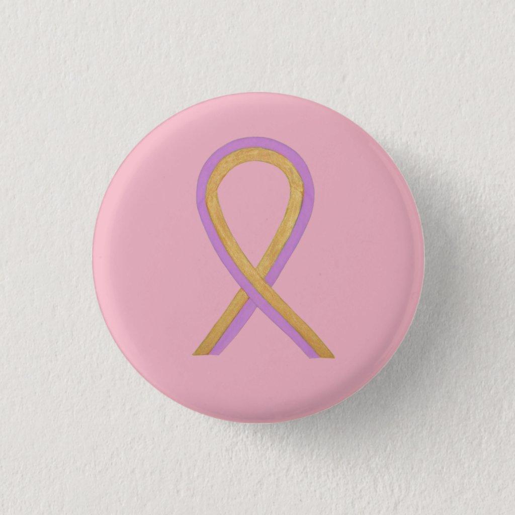 Pink and Gold Awareness Ribbon Custom Button Pins