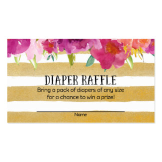 Pink and Gold Baby Shower Diaper Raffle Tickets Business Card