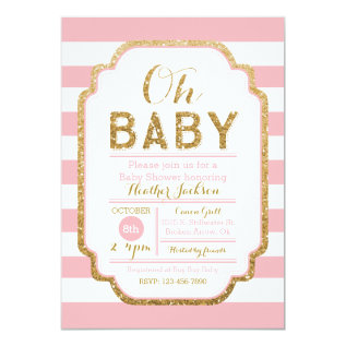 Pink And Gold Baby Shower Invitation, Baby Girl Card at Zazzle