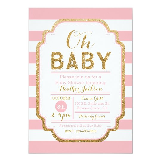 pink and gold baby shower invitation baby girl card zazzle