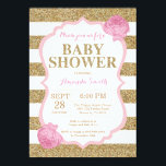 "Pink and Gold Baby Shower Invitation Glitter<br><div class=""desc"">Pink and Gold Baby Shower Invitation. Gold Glitter. Girl Baby Shower Invitation. Gold and White Stripes. For further customization,  please click the &quot;Customize it&quot; button and use our design tool to modify this template.</div>"