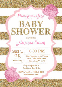 Baby shower invitations zazzle pink and gold baby shower invitation glitter filmwisefo