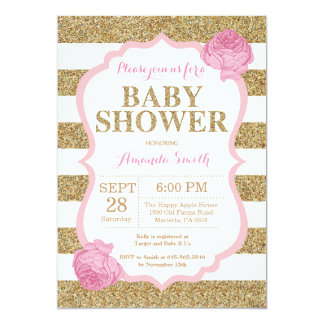 Pink and Gold Baby Shower Invitation Glitter