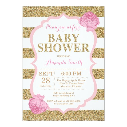 Pink And Gold Baby Shower Invitation Glitter Zazzle