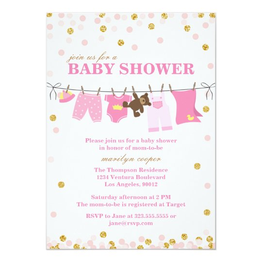 pink and gold baby shower invitations zazzle