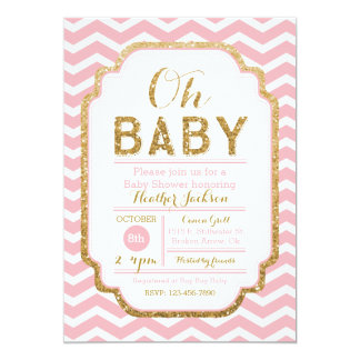 Pink And Gold Baby Shower Invitations, Baby Girl 5x7 Paper Invitation Card
