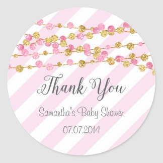 Pink and Gold Baby Shower Thank You Sticker