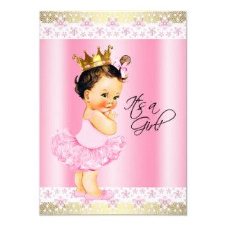 Pink and Gold Ballerina Tutu Baby Girl Shower Card