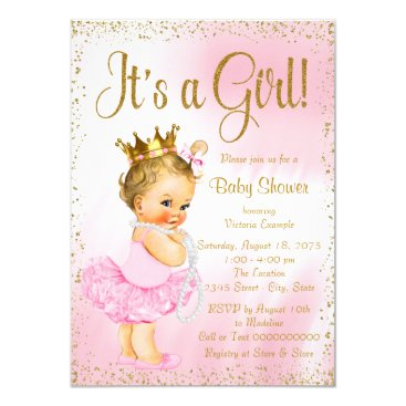 Pink and Gold Ballerina Tutu Pearl Baby Shower Card