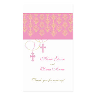 Pink and Gold Baptism Favor Tag - Twins Double-Sided Standard Business Cards (Pack Of 100)