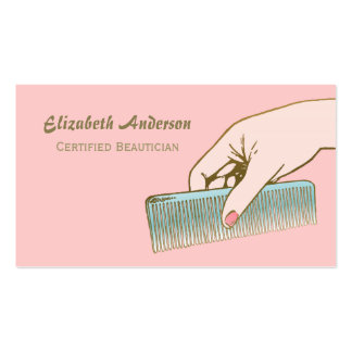 Pink and Gold Beautician Vintage Comb Hair Salon Double-Sided Standard Business Cards (Pack Of 100)