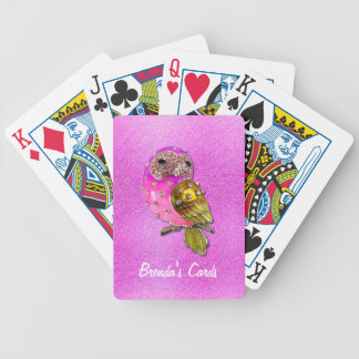 Pink and Gold Bejeweled Owl Custom Card Deck