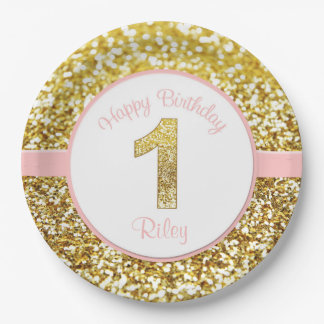 Pink and gold birthday plates for first birthdays  sc 1 st  Zazzle & Girls First Birthday Plates | Zazzle
