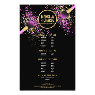 Pink and Gold Blush Confetti Makeup Artist Flyer