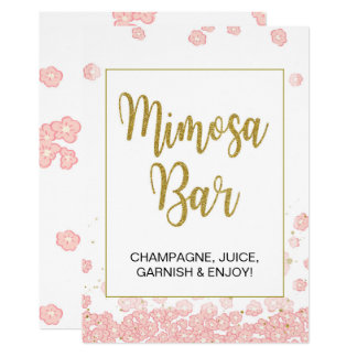 Pink and Gold Bridal Shower Mimosa Bar Sign Card