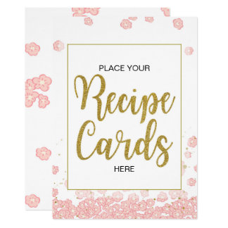 Pink and Gold Bridal Shower Recipe Cards Sign