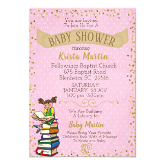 Pink and Gold Bring a Book Baby Shower Card