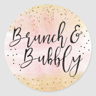 Pink and Gold Brunch and Bubbly Bridal Shower Classic Round Sticker