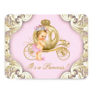 Pink and Gold Carriage Girls Princess Baby Shower Card