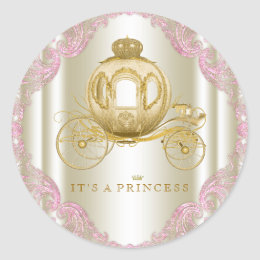 Pink and Gold Carriage Princess Baby Shower Classic Round Sticker