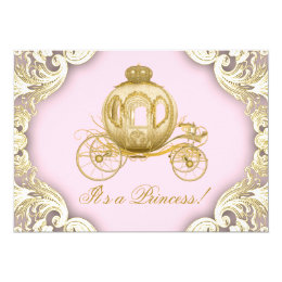 Royal princess invitations announcements zazzle pink and gold carriage royal princess baby shower card stopboris Gallery