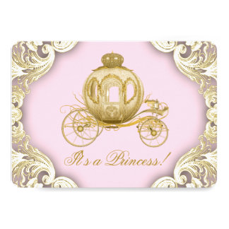 Pink and Gold Carriage Royal Princess Baby Shower Card