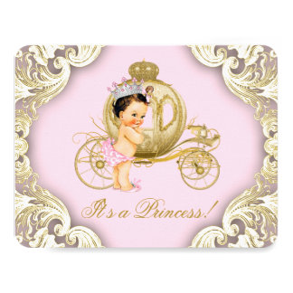 Pink and Gold Carriage Royal Princess Baby Shower 4.25x5.5 Paper Invitation Card