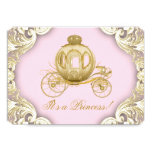 Pink and Gold Carriage Royal Princess Baby Shower 5x7 Paper Invitation Card