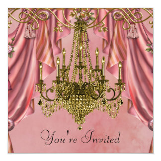 Pink and Gold Chandelier Party Invitations