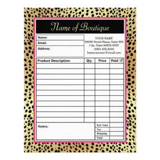 Pink and Gold Cheetah Print Boutique Order Forms Letterhead