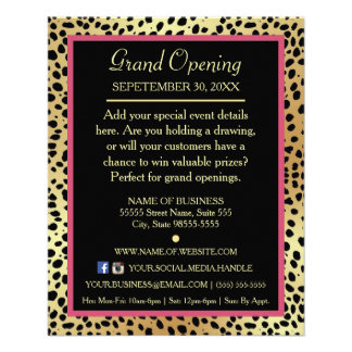 Pink and Gold Cheetah Print Boutique Special Event Flyer