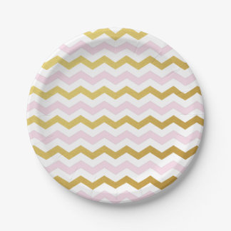 Pink and Gold Chevron Pattern Paper Plates