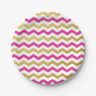 Pink and Gold Chevron Pattern Paper Plates 7 Inch Paper Plate